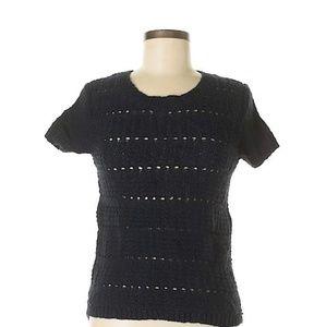 Ann Taylor Navy Blue SS Exposed Zipper Sweater XS